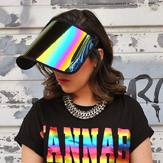 SAINT CHIC Paparazzi Visor 1.0 Sun Hat, Black/Rainbow (Rainbow Visor)