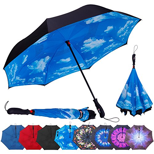 Repel Reverse Folding Inverted Umbrella with 2 Layered Teflon Canopy and Reinforced Fiberglass Ribs (Blue Sky) (State Art Frame Glass)
