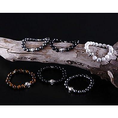 65717ec2134b22 Amazon   スカル ストーンブレスレット 17cm シルバー925 カットヘマタイト 数珠ブレス メンズジュエリー ブランド Roen  BLACK ロエン ブラック (ヘマタイト・カット ...