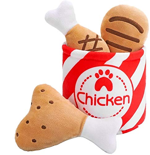 EXPAWLORER Plush Dog Squeaky Toys – Hide and Seek Dog Chew Toy, Interactive Funny Fried Chicken Squeaky Toy for Dogs, Cute Dog Toys, Ideal Gift for Dogs
