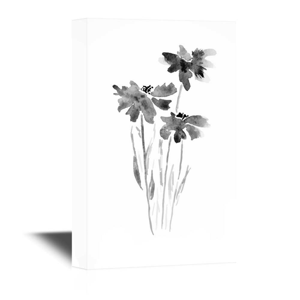 Watercolor Style Floral Art In Black And White Canvas Art Wall26
