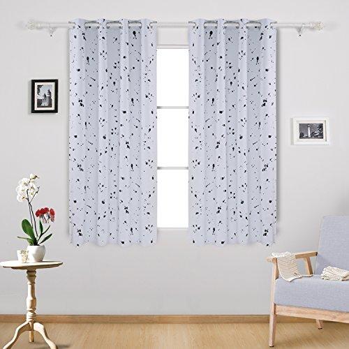deconovo black dots printed on white blackout curtains grommet curtains black and white curtains for living room 52 w x 63 l white 2 panels