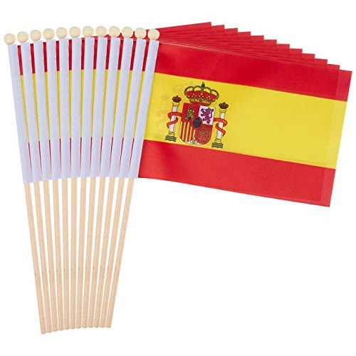 Juvale 12-Piece Spain Stick Flags - Spanish Hand-held Flags, Polyester Country Stick Flag Banners, Decorations for Parties, Parades, Sports Events, and International Festivals- 5.5 x 8.3 Inches]()