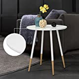 WOHOMO Round Coffee Table Small Table Side Table Round Office End Table  Corner Table Pine Wood And Metal End Tables