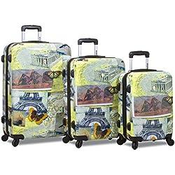 Rolite City Stamping Lightweigt 3-pcs Expandable Hardshell Spinner Luggage Set (Mosaic)