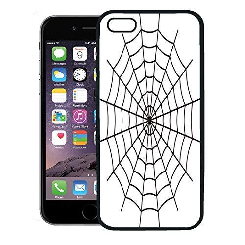 Semtomn Phone Case for iPhone 8 Plus case,Net Spider Black Spiderweb Line Goth Pattern Halloween iPhone 7 Plus case Cover,Black -