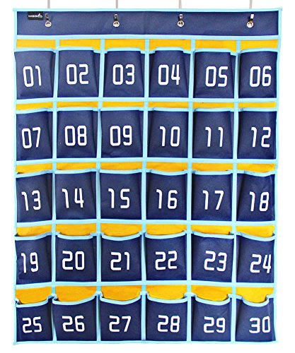 Misslo Numbered Classroom Pocket Chart for Cell Phones and Calculator Holder (30 Pockets, Blue Pockets) ()