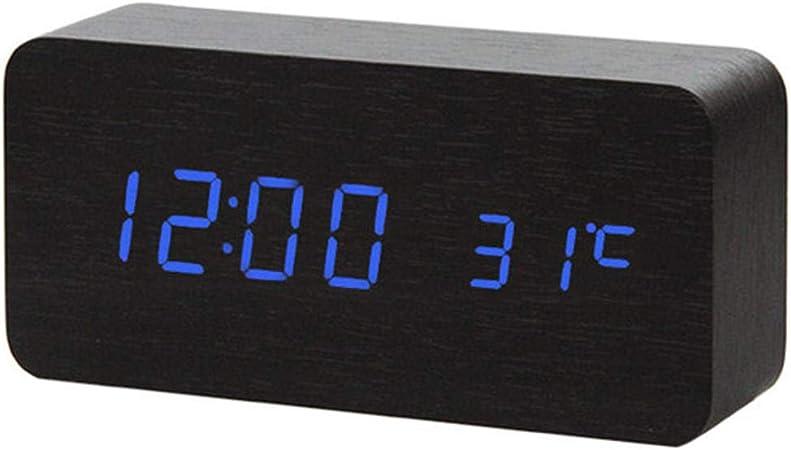 Alarme DHorloge Multicolore Sons Contr/ôle en Bois Horloge Multifonction LED Affichage Bureau Alarme Horloge Table De Bureau Num/érique Thermom/ètre Table D/écor 15