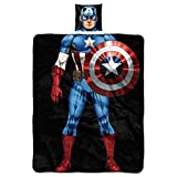 Marvel Captain America, First Avenger Being the Character 11'' x 11'' Pillow and 40'' x 50'' Fleece Throw Blanket Set