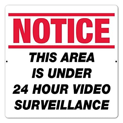 """18"""" x 18"""" - Aluminum Sign - Notice: This Area Is Under 24 Hour Video Surveillance from Alotta Signs"""