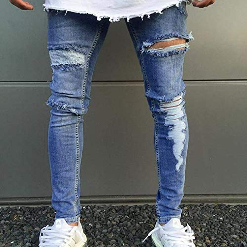 Stile Blau Di Denim Semplice Svago Magro Tratto Uomini Usurato Strappato Pantaloni Slim Fit Jeans Sfilacciato X6w57
