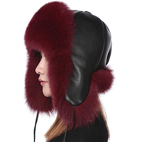 a4b5611d04dcf Valpeak Womens Winter Real Fox Fur Hat Genuine Leather Russian Trapper  Ushanka Hats