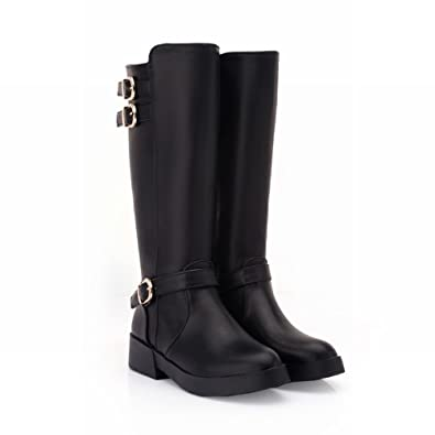 03aba7b766f5 Show Shine Women s Fashion Buckle Platform Mid Chunky Heel Knee High Tall  Boots (4.5