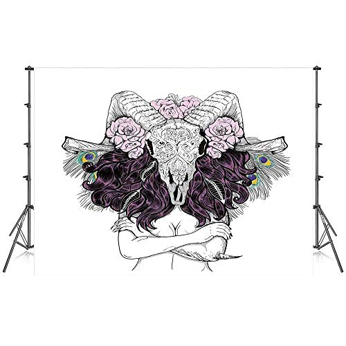 Skull Decorations Stylish Backdrop,Tribal Lady with Horned Goat Head and Peacock Feather Mystic Voodoo Pattern for Photography Festival Decoration,86''W x 59''H