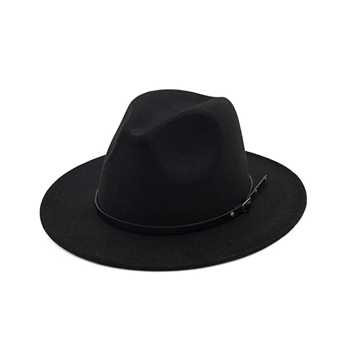 11a2fd3a47 Vim Tree Women's Classic Wide Brim Fedora Hat with Belt Buckle Felt Panama  Hat