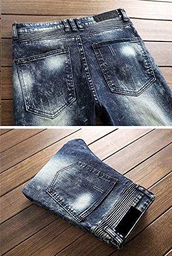 Pantaloni Slim Senza Di Cinturino 8 Da Skinny Jeans Fit Dritti Midi Stretch Uomo Regular vfwgq1w