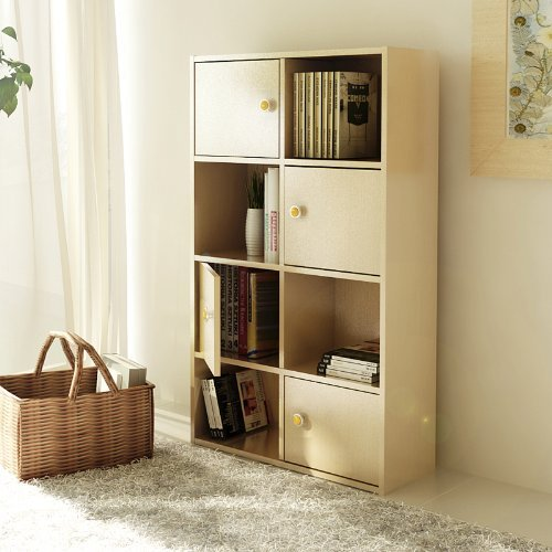 Furinno 11237SBE Pasir 4-Tier Shelf with 4 Door/Round Handle, Steam Beech