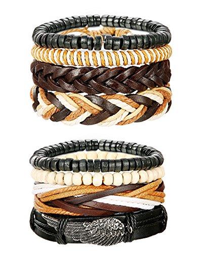 b61e327a5d LOYALLOOK Mixed Wrap Leather Wristbands Bracelets and Wood Beads Bracelet  Set for Men Women Adjustable