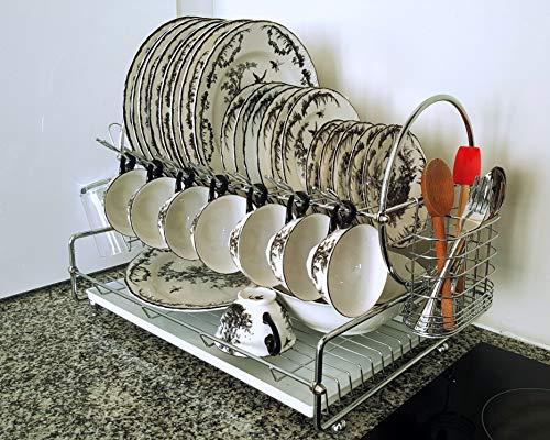 Modern Dish Drying Rack | Two Tier | Extra Deep Bottom Level | Hooks for Wine Glasses/Cups/Mugs | Cutlery Holder | Plastic Tray Insert | Glass/Mug Holder | Elegant Design & Great Build Quality (Glass Insert Rack)