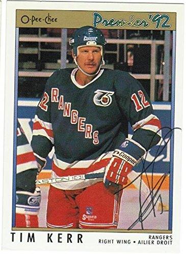 Tim Kerr New York Rangers Autographed 1991-92 Premeir Card ... 2bd40fa9e