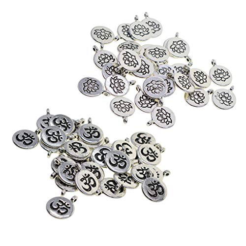 (Fityle 60 Pieces Tibetan Silver Filigree Yoga Lotus Flower Charms DIY Om Yoga Charms for Jewelry Making)