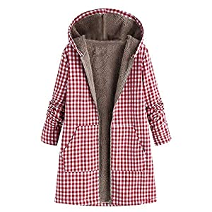 XOWRTE Women's Plus Size Casual Pure Color Hooded Pockets Coat Winter Outwear