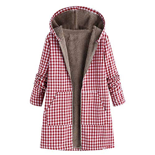 AgrinTol Womens Winter Warm Outwear Floral Print Hooded Pockets Vintage Oversize ()