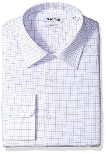- Haggar Dress Shirts Men's Classic Fit Performance Adjustable Spread Collar Dress Shirt, Light Blue Tattersall, 17-17.5 32/33