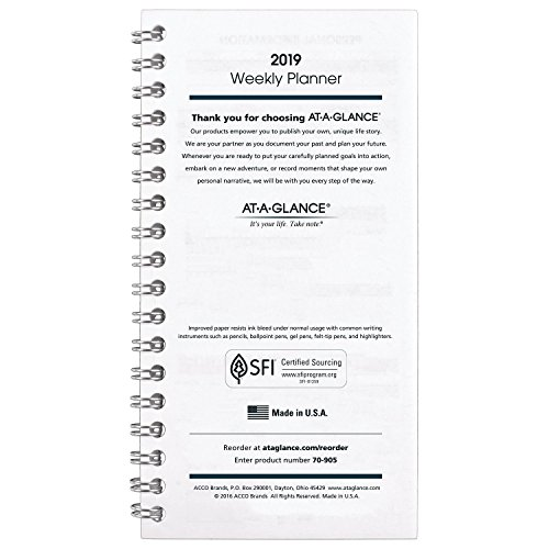 AT-A-GLANCE 2019 Weekly Section Refill, for Planner 70543, 3-1/2
