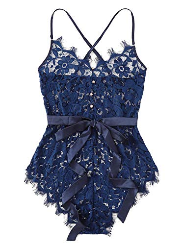 Milumia Women Lace Teddy Bodysuit Christmas Eyelash Floral Lingerie Jumpsuits Blue M