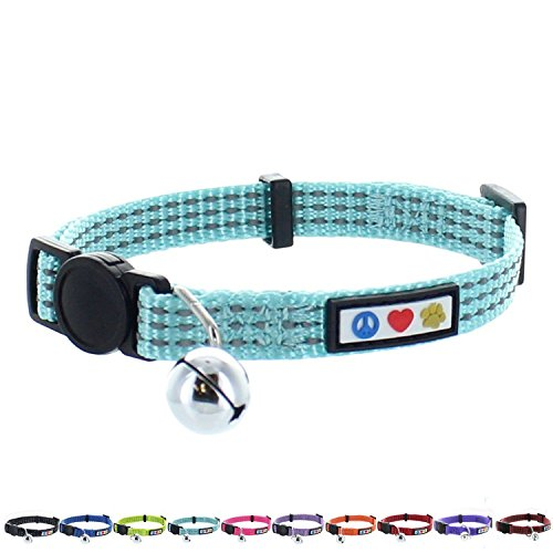 Pawtitas Pet Reflective Cat Collar with Safety Buckle and Bell Teal