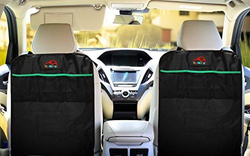 2 Pack EPAuto Car Backseat Kick Mats For Seat Back Protectors W Storage Pocket