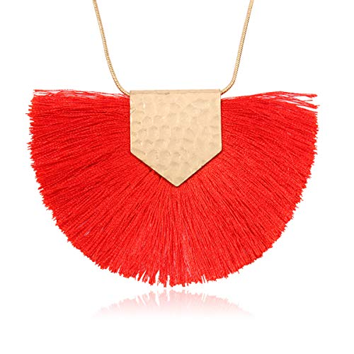 RIAH FASHION Antique Bohemian Silky Thread Fan Tassel Statement Necklace - Vintage Gold Feather Shape Strand Fringe Lightweight Long Chain (Necklace Half Moon Tassel - Red)