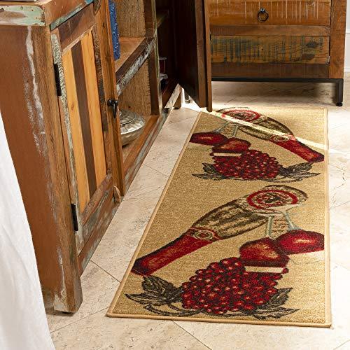 """Ottomanson Siesta Collection Kitchen Wine Design (Non-Slip) Runner Rug, 20"""" x 59"""", Beige"""