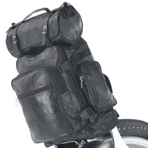 - 3pc Black Leather Motorcycle Luggage Set Tool Barrel Bag Sissy Bar fits Harley