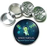 """Space Turtles Em1 Silver Chrome 63mm Aluminum Magnetic Metal Herb Grinder 4 Piece Hand Muller Spices & Herb Heavy Duty 2.5"""""""
