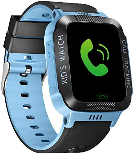 MIFXIN Upgraded Kids Smart Watch GPS Tracker Wrist Smartwatch Phone for Boys Girls Touch Screen Sport Watch with Phone Call Camera SOS Kids Birthday Learning Toy Blue Black