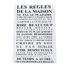 "SODIAL(R) ""House rules"" of French version quote waterproof wall stickers home decor , vinyl art decals sticker home decoration-60*92cm,Black"