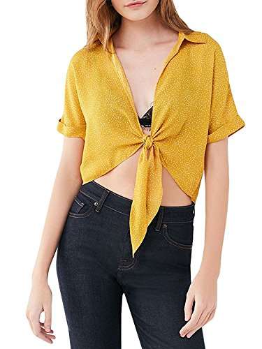 Womens Tie Front Top Bolero Shrugs Deep Plunge Short Sleeve Shirts Cropped Cardigan (Cardigan Printed V-neck)