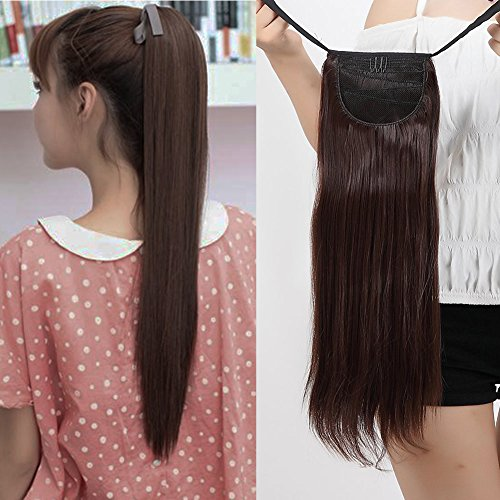 Binding Tie up Synthetic Ponytail Heat Resistant One Piece Drawstring Pony Tail Long Straight Soft Silky for Women Lady Girls 22'' / 22 inch (medium (Sexy Ponytails)
