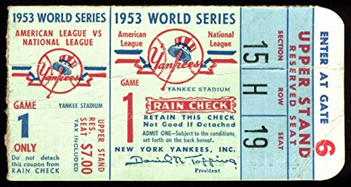 BKN Dodgers Versus NY Yankees 1953 World Series Game 1 Ticket Unsigned (2) ()