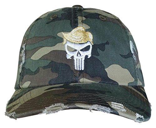 (Trump Skull Cap - Trump for Justice - QAnon Q Hat (CamoRippedDistressed/TrumpHairSkull))