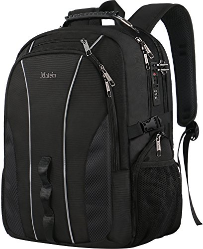 Large Travel Backpack, TSA Friendly Business Computer Backpack with Security Lock/USB Charging Port for Men&Women, Durable Anti Theft Big College School Bookbag Fits 17 Inch Laptop&Notebook (Lock Notebook Durable)