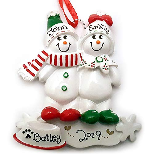 Snowman Snowmen Couple Family of 2 with a Dog Personalized Christmas Ornament (Personalized Christmas Ornaments Couple With 2 Dogs)