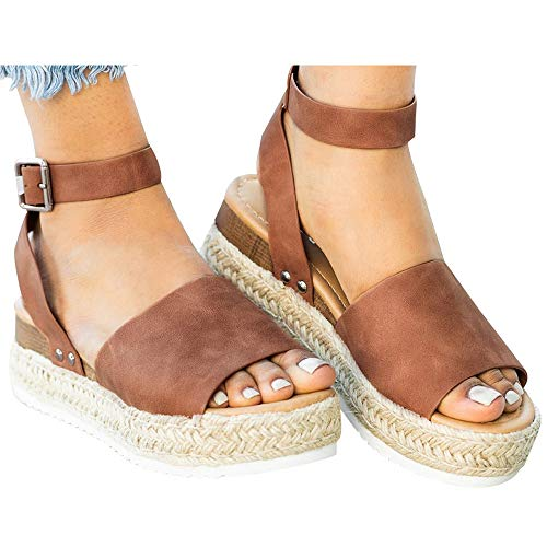 - Athlefit Women's Platform Sandals Espadrille Wedge Ankle Strap Studded Open Toe Sandals Size 9.5 Brown