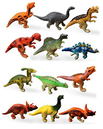 HAPTIME Plastic Assorted Dinosaur Figures, 2-inch, Pack of