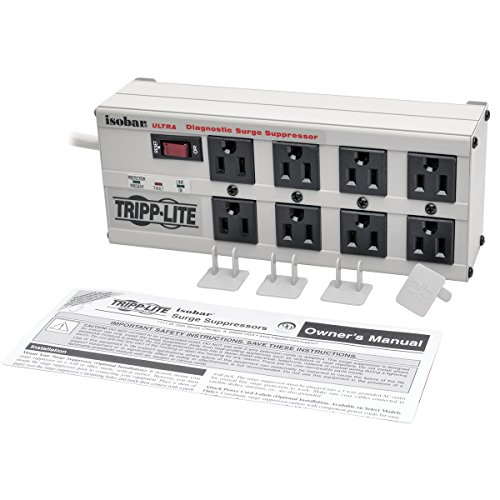 Tripp Lite Isobar 8 Outlet Surge Protector Power Strip, 25ft Long Cord, Right-Angle Plug, Metal, & $50,000 INSURANCE (ISOBAR825ULTRA) by Tripp Lite (Image #3)