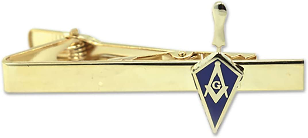 Trowel with Square Compass Masonic Tie Clip - [Blue & Gold][2 1/4'' Wide]