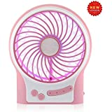 Findway 4-inch Vanes 3 Speeds Electric Portable Mini USB fan Rechargeable Desktop Fan Battery/ USB Powered Laptop PC Cooling Operated Cool Cooler Fan with LED Night Light (Pink)