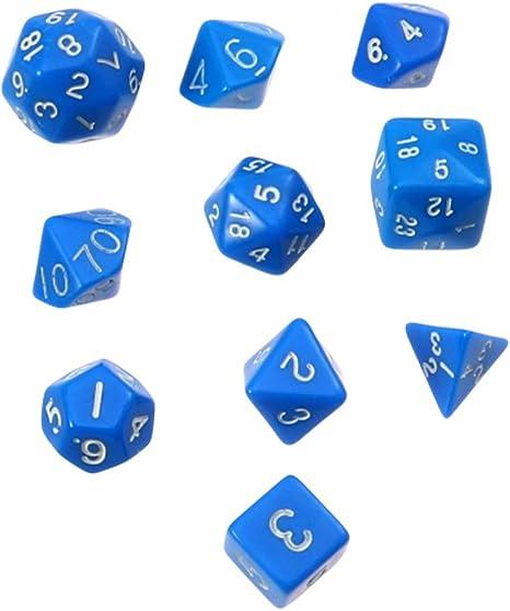 LIOOBO 10pcs Dados de poliedro acrílico Dados Digitales Juegos de Mesa de Entretenimiento Dados multifacéticos Juguetes Juego de Dados Azul: Amazon.es: Deportes y aire libre